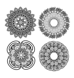 set mandala art decorative icon vector image