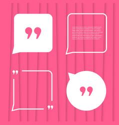 Set of citation on pink striped background vector