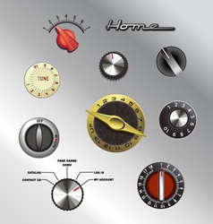 vintage knobs set 2 vector image vector image