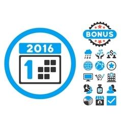 2016 Day Flat Icon with Bonus vector image