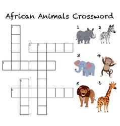 African animals crossword background vector