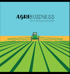 Agribusiness concept - tractor in field vector