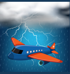 Airplane flying on stormy night with thunders and vector