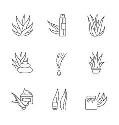 Aloe vera pixel perfect linear icons set organic vector