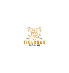 Animal tiger head face roar line logo design vector