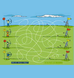 Archery sport competition maze game vector