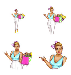 avatar of blonde overweight woman shopping vector image