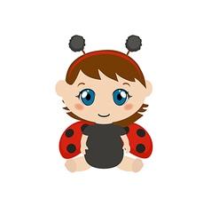 Baby dressed as ladybug vector