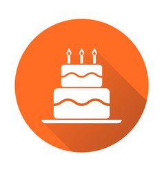 Birthday cake flat icon fresh pie muffin on vector