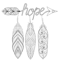 Bohemian Arrow Hand drawn Amulet with letters vector image