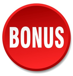 bonus red round flat isolated push button vector image