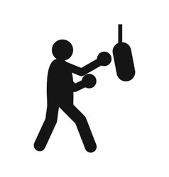 Boxer hitting the punching bag icon simple style vector image