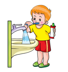 boy stands next to sink and brushes his teeth vector image