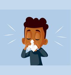 Boy with runny nose feeling unwell cartoon vector