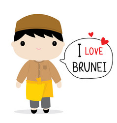 Brunei men national dress cartoon vector