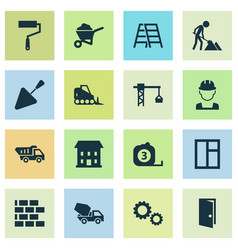 Building icons set collection of truck measure vector