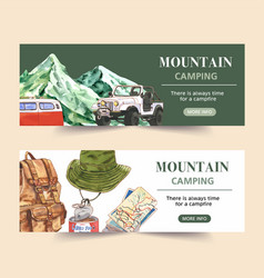 Camping banner design with van mountain backpack vector