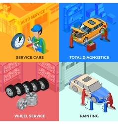 Car Service Isometric 2x2 Design Concept vector image