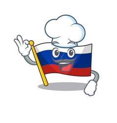 Chef flag russian stored in cartoon cupboard vector