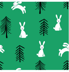 childish seamless pattern with rabbit vector image