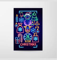 christmas neon flyer vector image