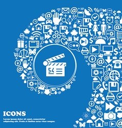 Cinema movie icon sign Nice set of beautiful icons vector image