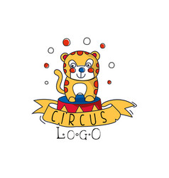 circus logo emblem with funny tiger for amusement vector image