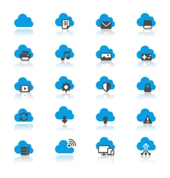 Cloud computing flat with reflection icons vector image