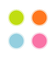 collection of colorful stitched circle shape vector image