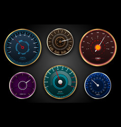 collection speedometers pointers counters panel vector image