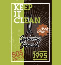 color vintage gardening services banner vector image