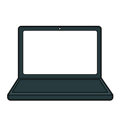 Colorful silhouette laptop computer tech device vector