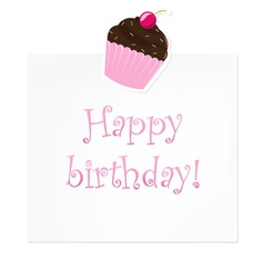 Cupcake birthday note vector