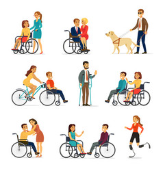 Disabled and handicapped set vector