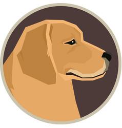 Dogs golden retriever round frame vector