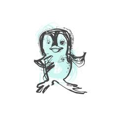 Doodle sketch drawing stupid penguin vector