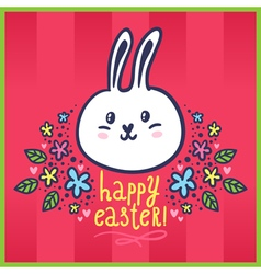 Easter card with bunny and flowers vector image