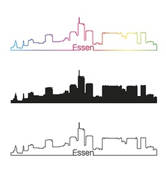 Essen skyline linear style with rainbow vector image
