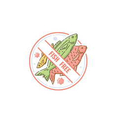 fish free label for food allergy circle icon for vector image