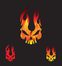 flame skull logo vector image