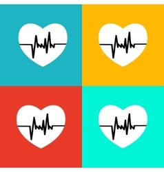 Flat heart beat icon vector image