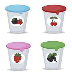 Fruit yogurt in plastic boxes vector image