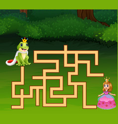 Game frog prince maze find way to princess vector