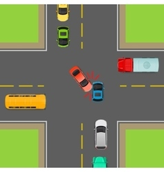 General Traffic Rules Turn Left at Crossroads vector
