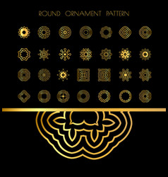 Golden vintage round patterns on black vector