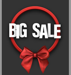 grey big sale card with bow vector image