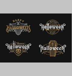 halloween night set vintage style emblems on vector image