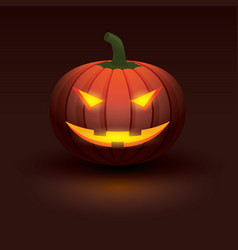 halloween pumpkin with light glowing in smiling vector image
