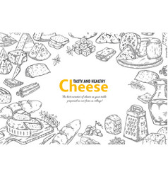 hand drawn cheese background organic italian food vector image
