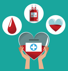 Hand holding heart donation icons care vector